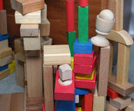 Building blocks. Stacked up in towers royalty free stock image