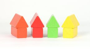 Building blocks. In the shape of houses royalty free stock photography