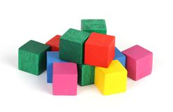 Building blocks. A collection of painted building blocks royalty free stock photography