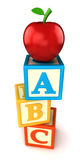 Building blocks. ABC building blocks with apple on white background Stock Photos