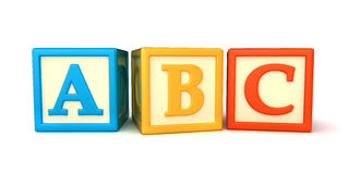 Building blocks. ABC building blocks on white background Royalty Free Stock Photos