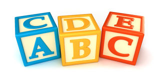Building blocks. ABC building blocks on white background Royalty Free Stock Images