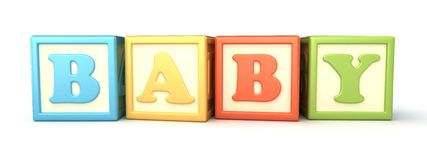 Building blocks. Alphabet building blocks that spelling the word baby Royalty Free Stock Photos
