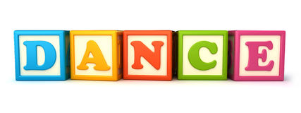 Building blocks. Alphabet building blocks that spelling the word dance Stock Image