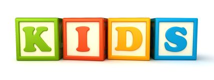 Building blocks. Alphabet building blocks that spelling the word kids stock illustration