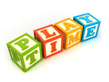 Building blocks. Alphabet building blocks that spelling the word play time Royalty Free Stock Photography