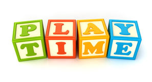 Building blocks. Alphabet building blocks that spelling the word play time Stock Image