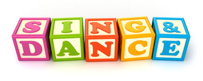 Building blocks. Alphabet building blocks that spelling the word sing and dance Royalty Free Stock Images