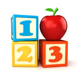 Building blocks. 123 building blocks with apple on white background Stock Photos