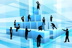 Building Blocks Business Team People Silhouettes. Concept for teamwork. A business team of people silhouettes working together using big building blocks to make Stock Image
