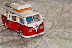 Building Blocks Caravan on a Map Stock Images