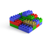 Building Blocks Concept with one gold block Royalty Free Stock Photography