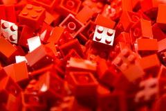 Building blocks with focus and highlight on one selected block with available light Royalty Free Stock Photos
