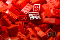 Building blocks with focus and highlight on one selected block with available light Royalty Free Stock Images