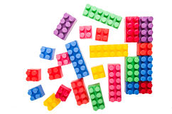 Building blocks forming a square on a white Stock Photo