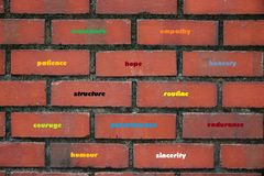 Building blocks of good character qualities. A photo taken on a wall of bricks made of some good personal traits and qualities Stock Image