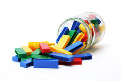 Building Blocks and Jar. On White Background Stock Image