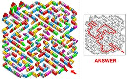 Building blocks labyrinth (square). Royalty Free Stock Images