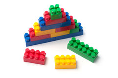 Building blocks. Plastic construction toy isolated on white background stock photos