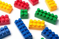 Building blocks. Plastic construction toy isolated on white background stock image