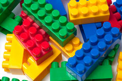 Building blocks. Plastic construction toy isolated on white background royalty free stock photo