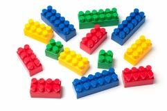 Building blocks. Plastic construction toy isolated on white background stock photo