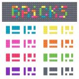 Building blocks of plastic constructor colored elements icon set. Vector graphic illustration design Stock Image