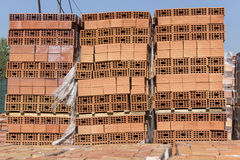 Building blocks stacked on pallets Royalty Free Stock Photo