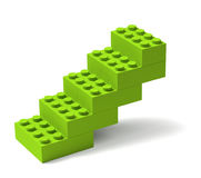 Building blocks stairs 3D. Stairs made of green toy building blocks 3D, advance progress growth concept Royalty Free Stock Photography