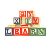 Learning the Alphabet. Building blocks to the steps of learning the basics of the english language royalty free stock image