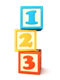 Building blocks. 123 building blocks on white background Royalty Free Stock Image