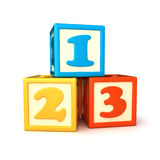 Building blocks. 123 building blocks on white background Royalty Free Stock Images
