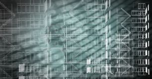 Building blue prints over green background. Digital composite of Building blue prints over green background Stock Photos