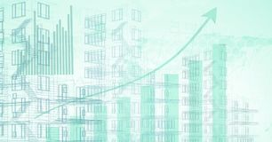 Building blue prints with statistics background. Digital composite of Building blue prints with statistics background Royalty Free Stock Images