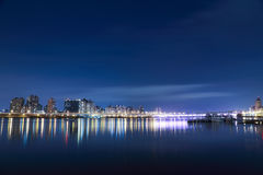 Building on Blue River during Night Time Royalty Free Stock Photography