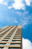 Building with blue sky. Skyscraper with blue sky and clouds Royalty Free Stock Photography
