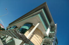 Building in blue sky. Management university of Singapore, Asia royalty free stock photo