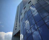 Building in blue sky. See from wide angle at 1st level royalty free stock image