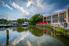 Building and boats on the Potomac River waterfront, in Alexandri Royalty Free Stock Image
