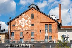 Building with brick masonry - Bayreuth Maisel & friends brewery stock photos