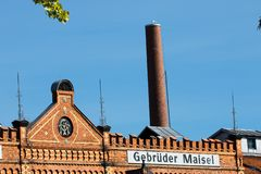Building with brick masonry - historical brewery stock images