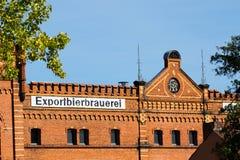 Building with brick masonry - historical brewery stock image