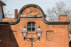 Building with brick masonry - old brewery stock image