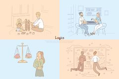 Building a brick tower with child, couple playing tabletop game of chess, logical thinking vs emotions, analyzing chart. Banner. Logics cartoon concept sketch vector illustration