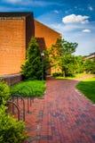 Building and brick walkway at John Hopkins University in Baltimore, Maryland. royalty free stock images