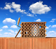 Building a brick wall. Stock Image