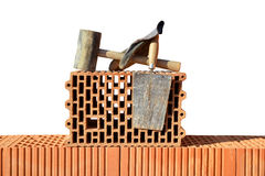 Building a brick wall. Royalty Free Stock Photos