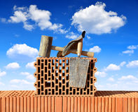 Building a brick wall. Royalty Free Stock Images