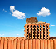 Building a brick wall. Stock Photography