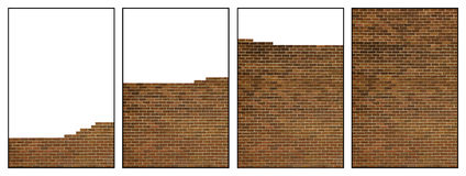 Building brick wall sequence royalty free stock photography